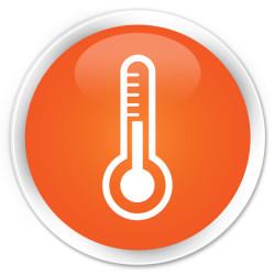 Thermometer icon orange button